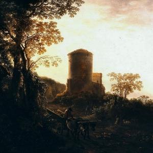 Ян Бот - Итальянский вечерний пейзаж с повозкой