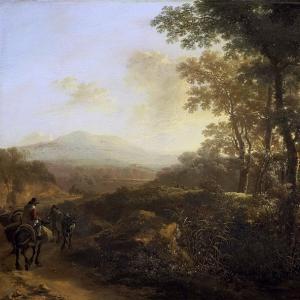 Ян Бот - Итальянский пейзаж с путником на муле. 1640-52
