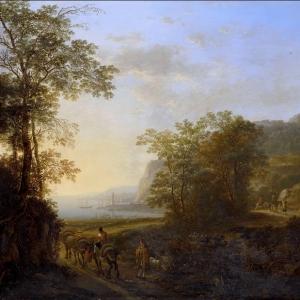 Ян Бот - Итальянский пейзаж с видом на залив. 1640-52