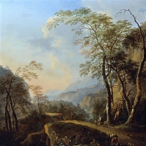 Ян Бот - Итальянский пейзаж с всадниками и крестьянами