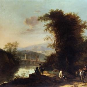 Ян Бот - Итальянский пейзаж с путниками и мостом
