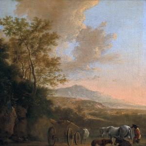 Ян Бот - Итальянский пейзаж с повозкой, запряженной быком