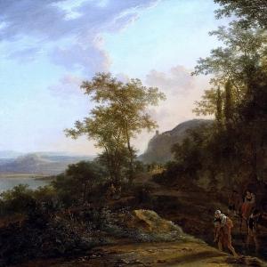Ян Бот - Итальянский пейзаж с горной тропой и заливом