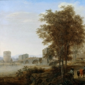 Ян Бот - Пейзаж близ Тиволи с Понте Лучано и гробницей Плавтиев