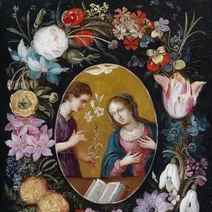 Ян Брейгель Младший - Благовещение в цветочной гирлянде