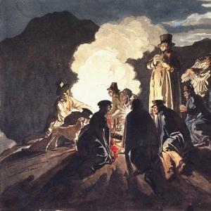 Бивуак на кратере, Везувий. 1824