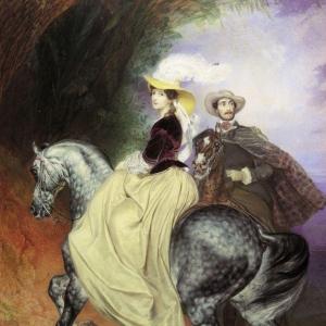 Всадники. Парный портрет Е.Мюссара и Э.Мюссар. 1849