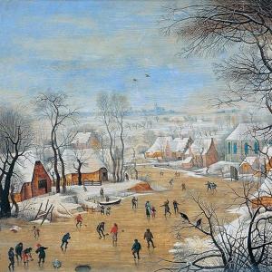 Зимний пейзаж с ловушкой для птиц