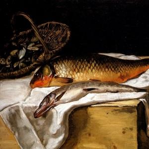 Жан Фредерик Базиль - Натюрморт с рыбой