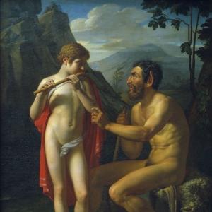Фавн Марсий учит молодого Олимпия игре на свирели. 1821