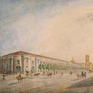 По рисунку Е.Исакова. Вид Невского проспекта у Гостиного двора
