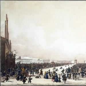 Масленичное гуляние с катанием с гор на Царском лугу в Санкт-Петербурге