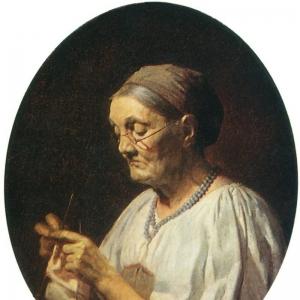 Старуха, вяжущая чулок 1864