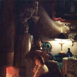 Вечерняя сцена (Изображены Н.И. Костомаров и сестра художника)