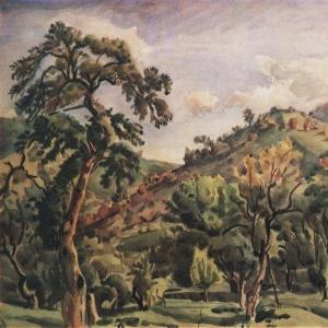 Горный пейзаж с деревьями. Орталаны. 1930-е