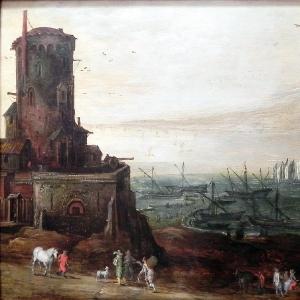 Портовый ландшафт укреплениями, 1610-1620
