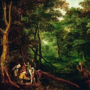 Пейзаж с грабителями, разделяющими добычу