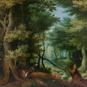 Лесной ландшафт с оленьей охотой