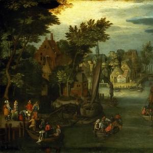 Оживленная Речная сцена с голландскими судами и паромом