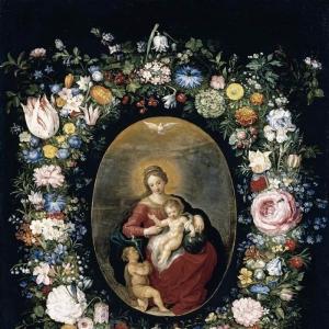 Дева с младенцем и св. Джоном в гирлянде цветов