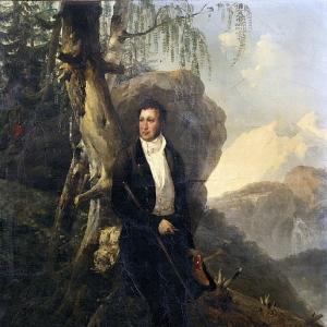 Эмиль-Жан-Орас Верне - Луи-Филипп, герцог Орлеанский, на фоне швейцарского пейзажа