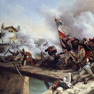 Эмиль-Жан-Орас Верне - Наполеон Бонапарт ведет свое войско по Аркольскому мосту