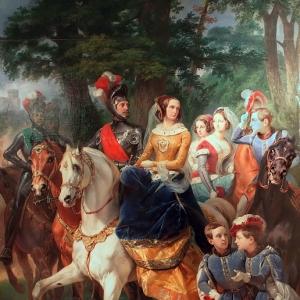 Эмиль-Жан-Орас Верне - Императрица Александра Федоровна со своей семьей на рыцарском турнире в 1842 году