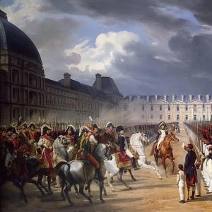 Эмиль-Жан-Орас Верне - Инвалид, подающий прошение Наполеону на параде гвардии перед дворцом Тюильри в Париже