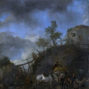 Воуверман Филипс - Кузнец, подковывающий лошадей, 1650-1668