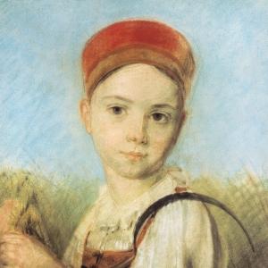 Крестьянская девушка с серпом во ржи.