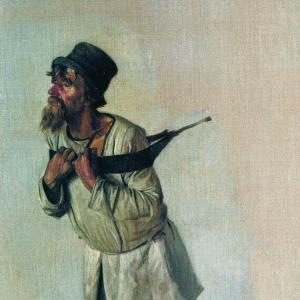 Бурлак, держащийся руками за лямку