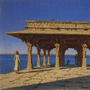 Вечер на озере. Один из павильонов на Мраморной набережной в Раджнагаре (княжество Удайпур)