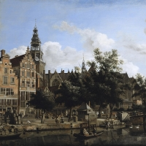 Ян ван дер Хейден - Улица и канал Аудезейдс-Ворбургвал со Старой церковью в Амстердаме