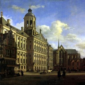 Ян ван дер Хейден - Собор и новая городская ратуша в Амстердаме, 1668.