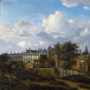 Ян ван дер Хейден - Старый дворец (Куденберг) герцогов Бургундских в Брюсселе, вид с северо-запада