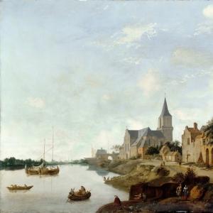 Ян ван дер Хейден - Вид на Рейн в Эммерихе с церковью святого Мартина