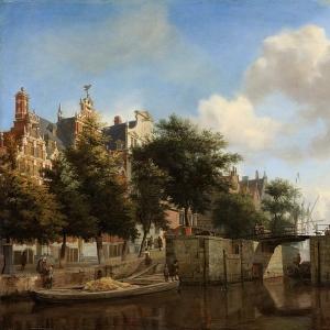 Ян ван дер Хейден - Обе новые стороны городского вала и старый шлюз в Амстердаме, 1667-70