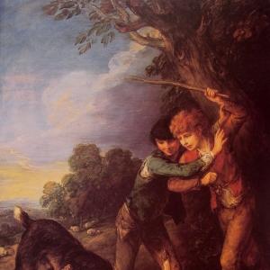 Два мальчика-пастуха с дерущимися собаками