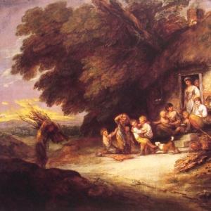 Играющие дети у входа в хижину