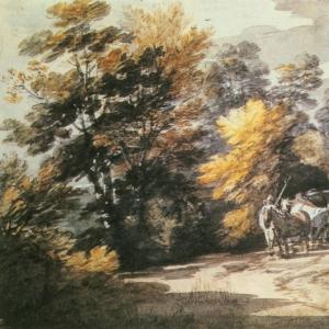 Лесной пейзаж с повозкой на поляне