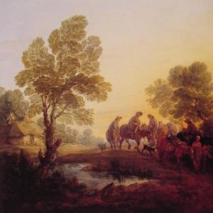 Вечерний пейзаж, крестьяне и конные фигуры