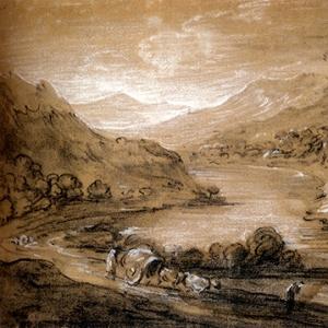Горный пейзаж с повозкой и фигурой