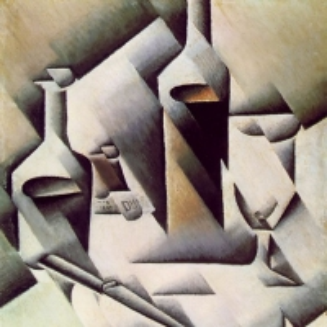 Хуан Грис - Бутылки и нож, 1911-12