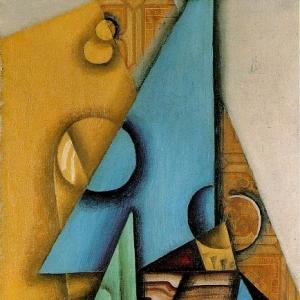 Хуан Грис - Бутылка и стакан на столе, 1913-14
