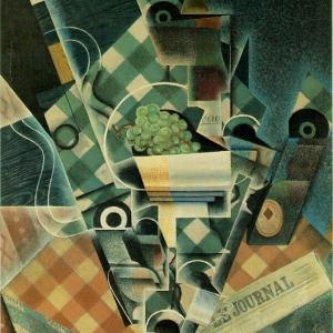 Хуан Грис - Натюрморт со скатертью в клеточку, 1915