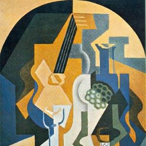 Хуан Грис - Натюрморт с мандолиной и блюдом с фруктами