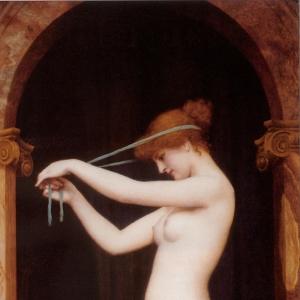 Венера, повязывающая свои волосы
