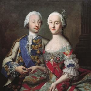 Портрет цесаревича Петра Фёдоровича и великой княгини Екатерины Алексеевны.1740-е