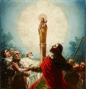 Св.Иаков Старший с другими апостолами поклоняется Деве Марии