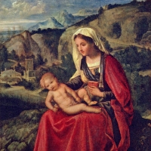 Мария и младенец Христос на фоне пейзажа